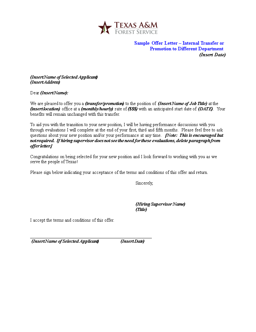 free internal promotion offer letter templates at
