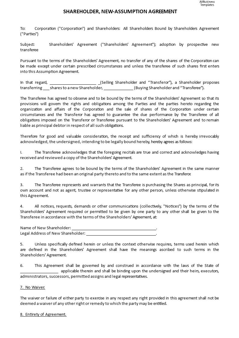 Shareholder New Assumption Agreement