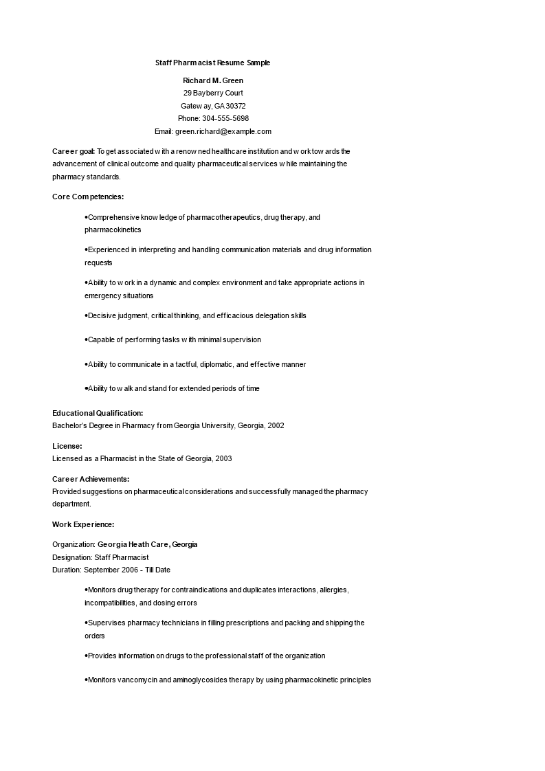 Staff Pharmacist Resume Main Image