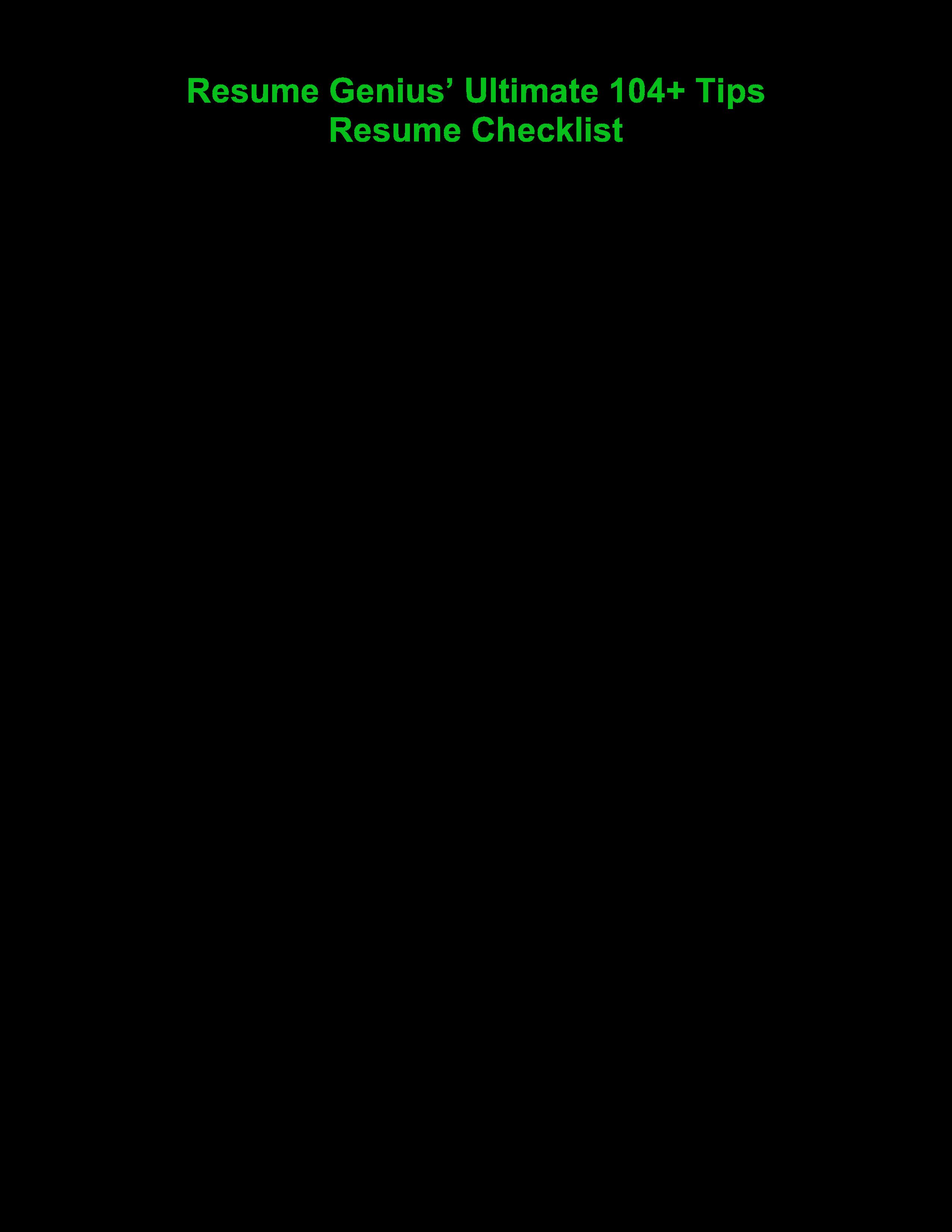 Free Microsoft Word - Resume Genius\'S Resume Checklist.Docx ...