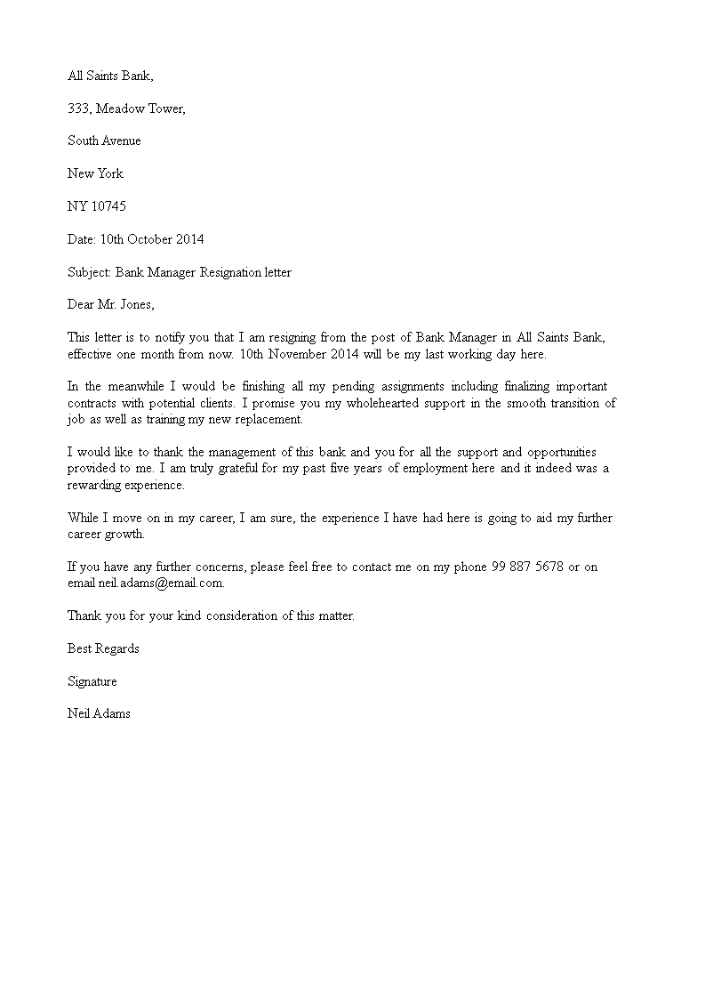 Official Bank Manager Resignation Letter main image