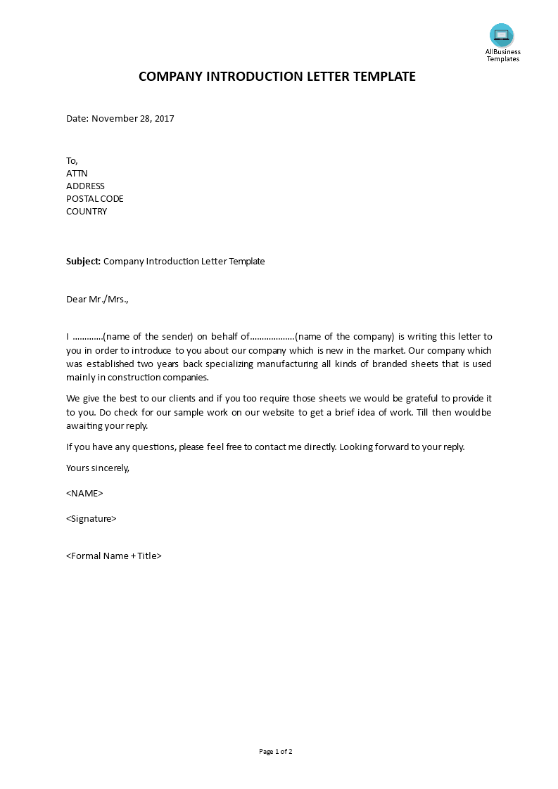 business introduction letter free company introduction letter template templates at 1110
