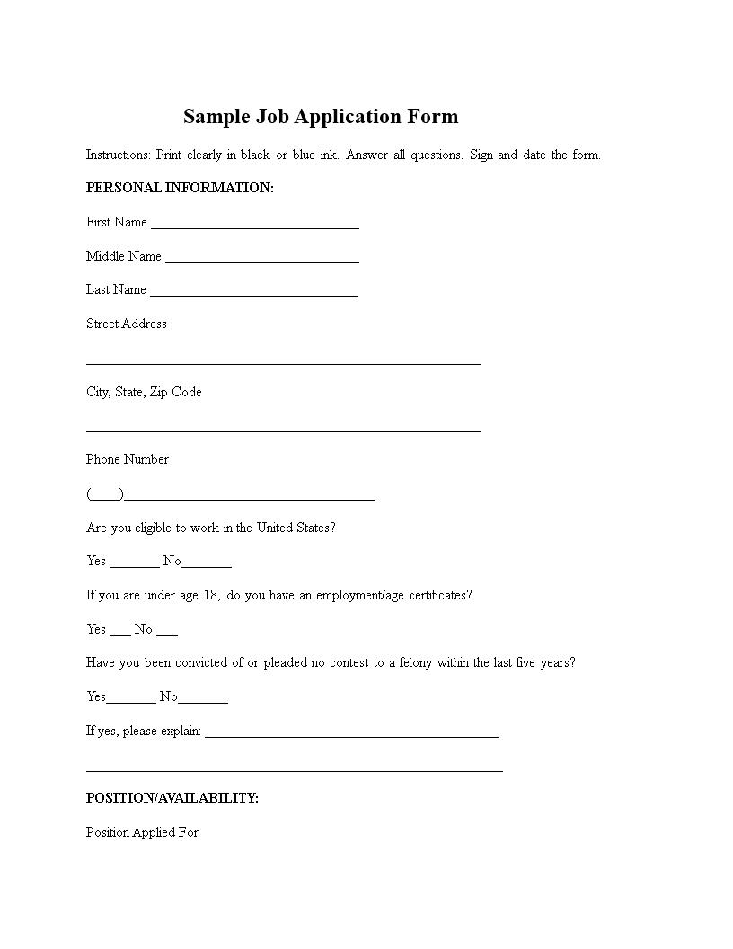 免费Simple Job Application Form Sample | 样本文件在 ...