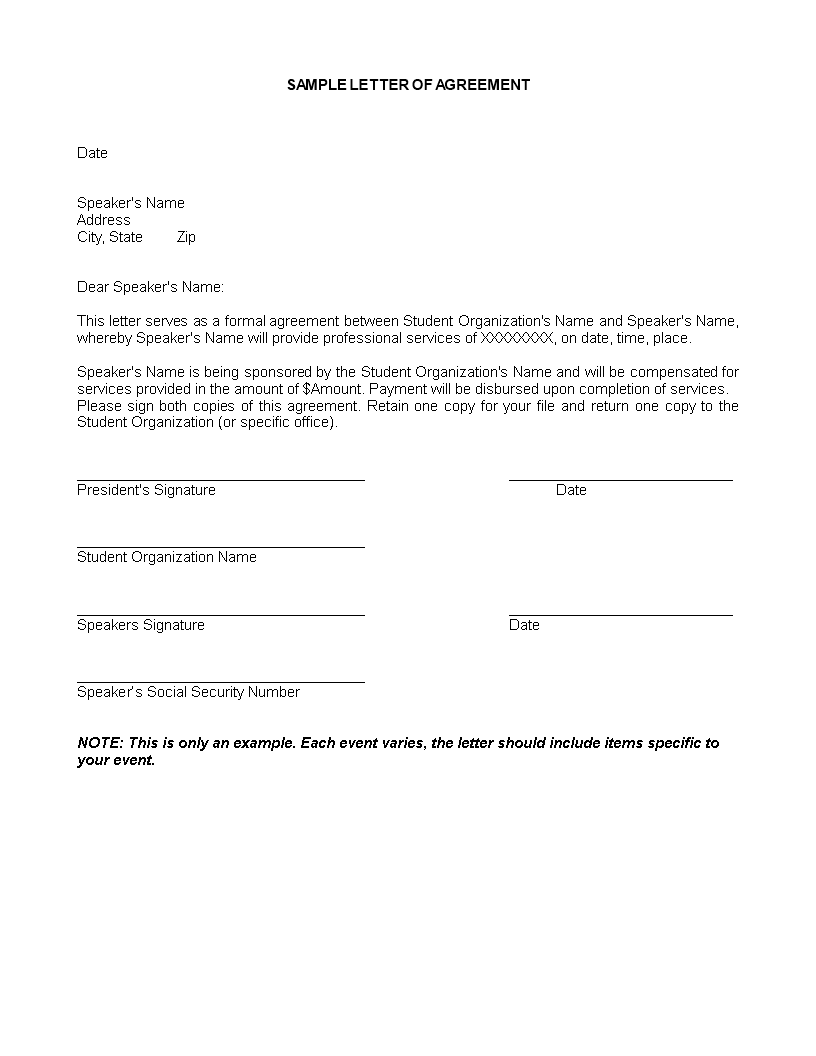 Free Service Agreement Letter Templates At Allbusinesstemplates