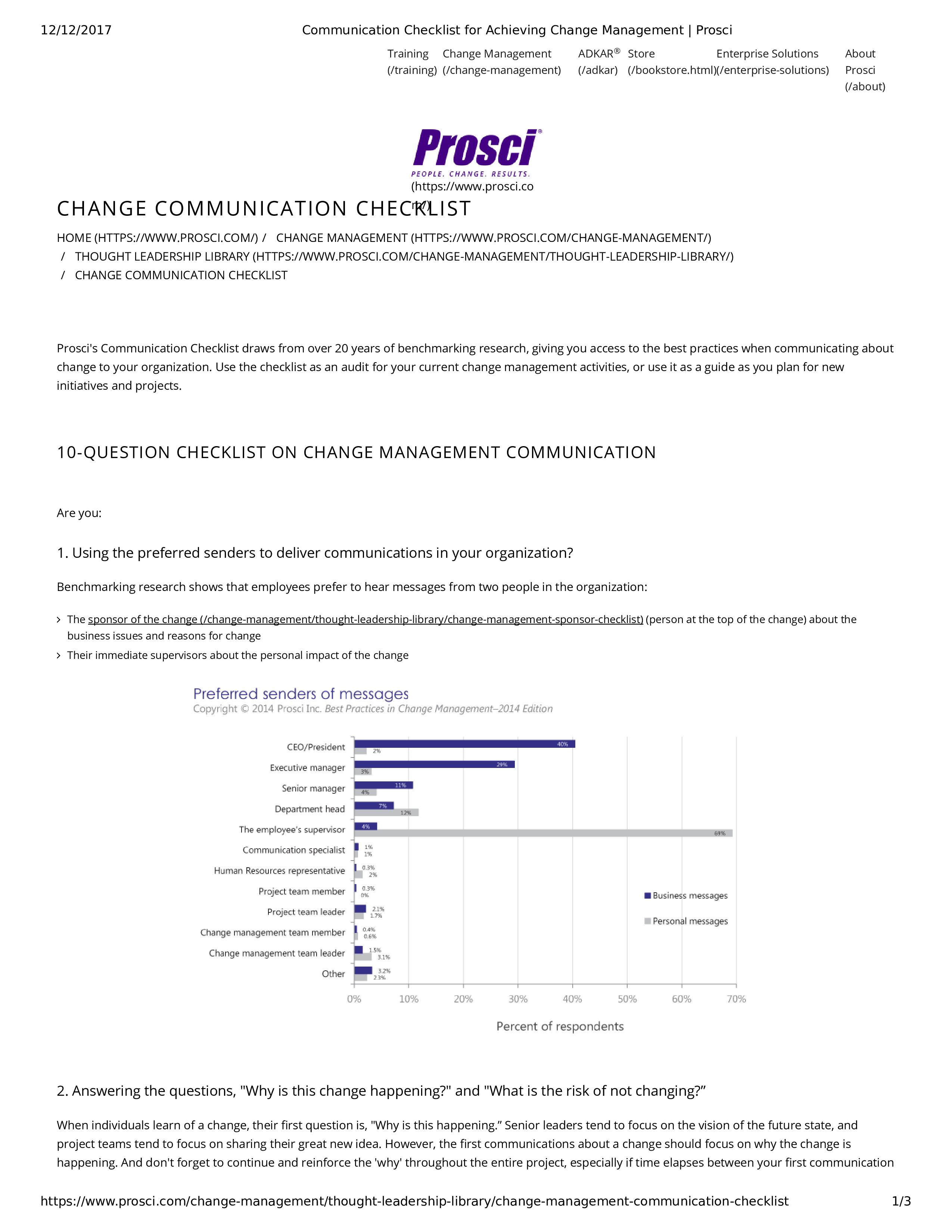 Free Communication Checklist Achieving Change Management Templates