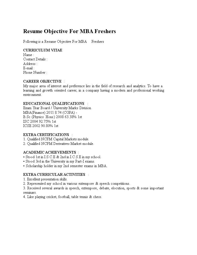 Free Career Objective For Mba Finance Fresher Templates At