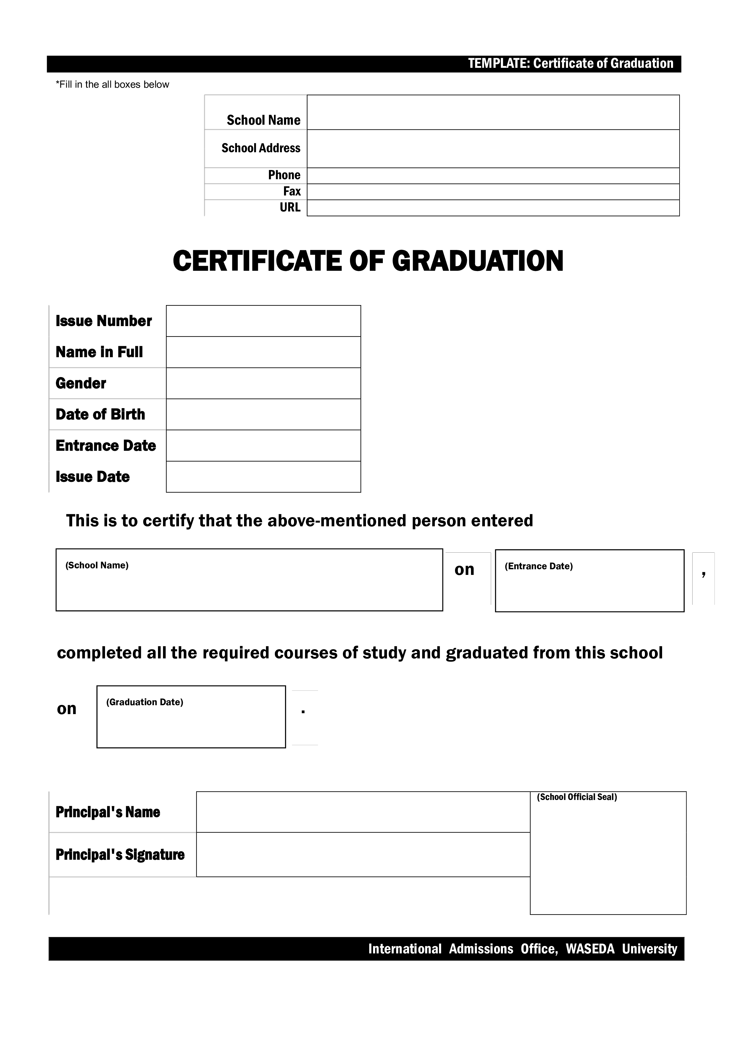 Free Blank Graduation Certificate Sample Templates At