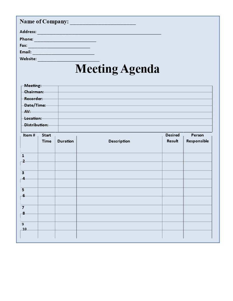 Blank Agenda Format | Templates at allbusinesstemplates.com