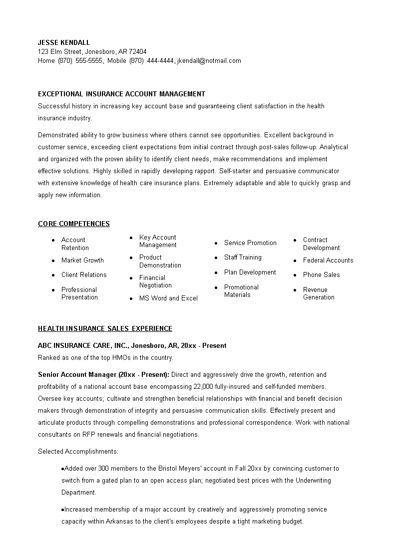 免费insurance Account Manager Resume 样本文件在