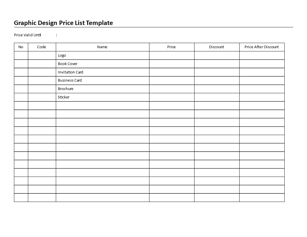 Free graphic design price list templates at allbusinesstemplates graphic design price list main image reheart Gallery