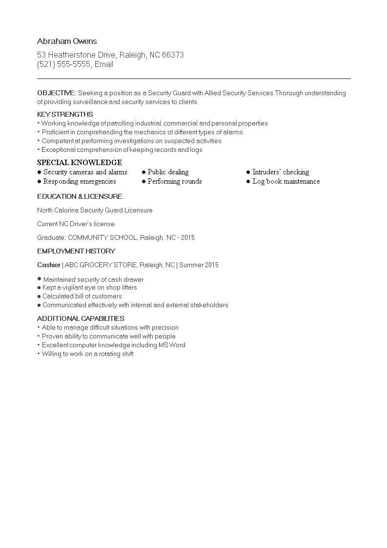 Free Security Guard Resume For Fresher Templates At