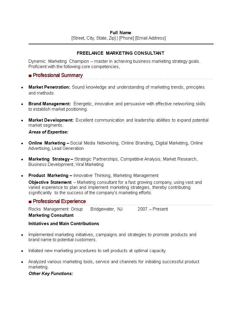Freelance Marketing Consultant Curriculum Vitae Sample Templates