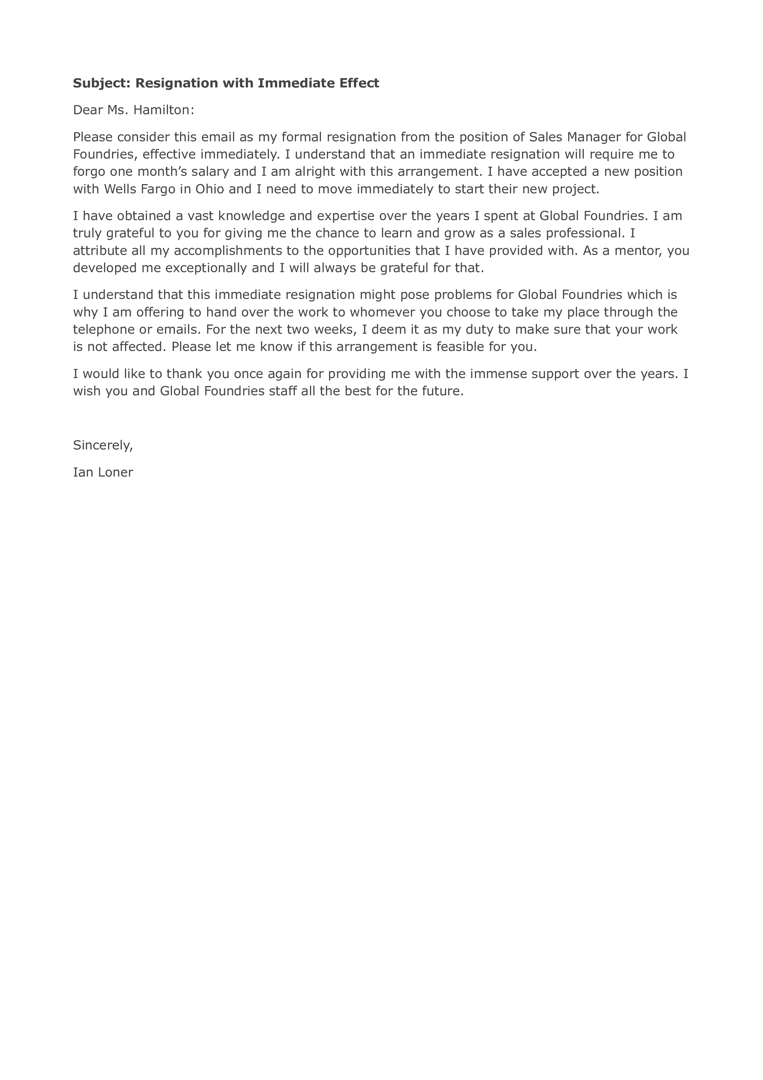 immediate resignation letter by email main image download template
