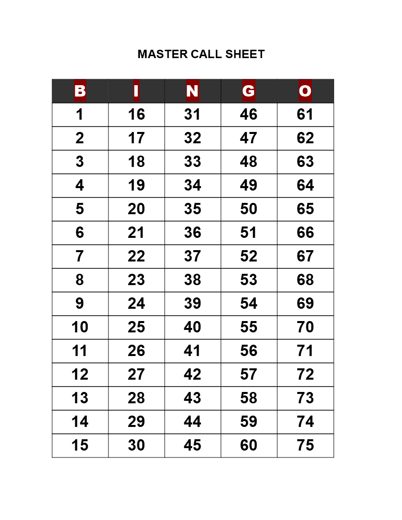Bingo Call Sheet
