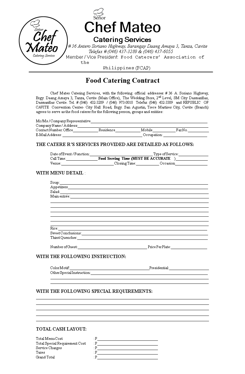 food catering contract