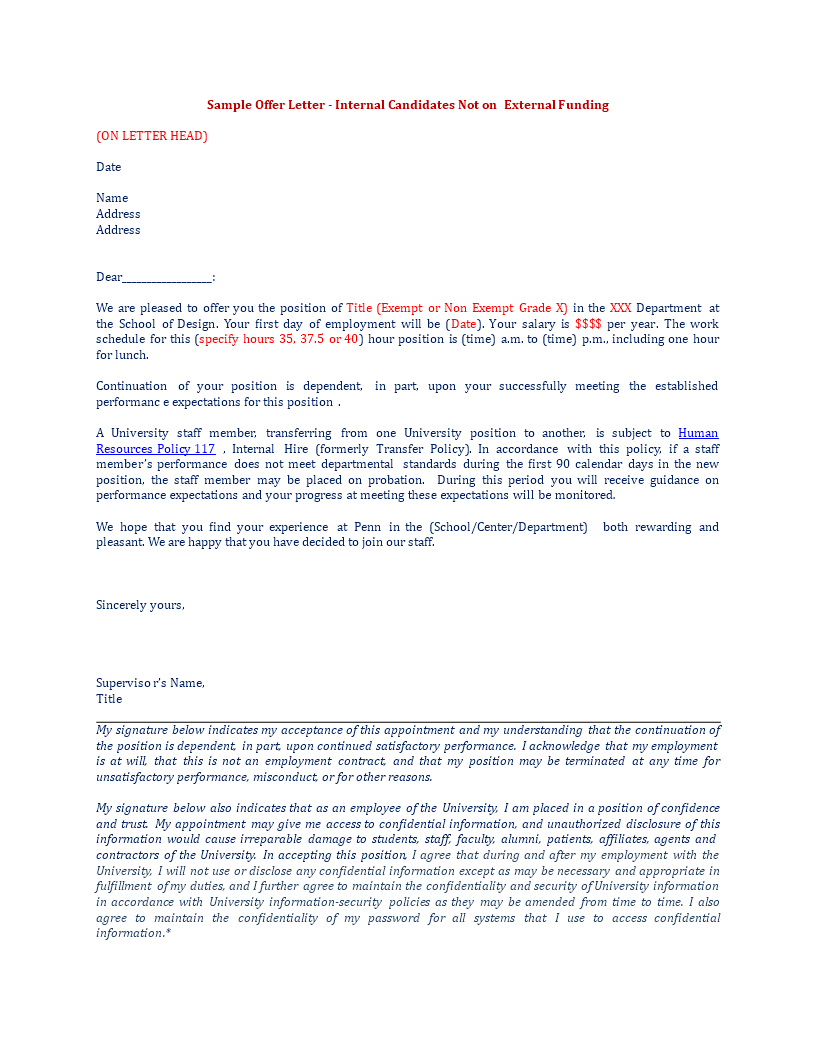 Free staff internal transfer letter templates at for Internal transfer letter template