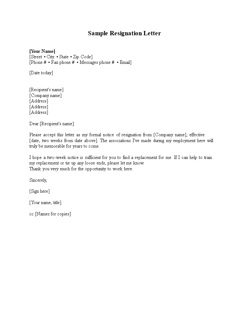 free basic resignation letter two weeks notice templates at