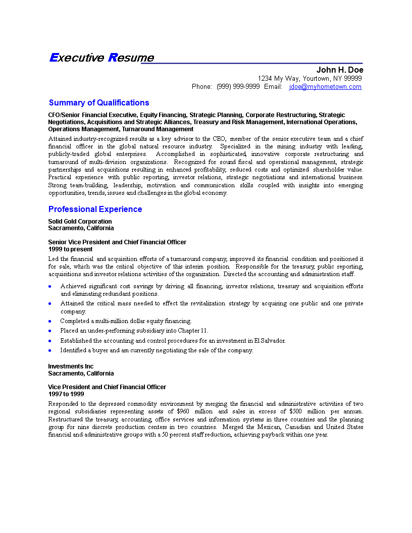 Free Business C Level Executive Resume Template Templates At