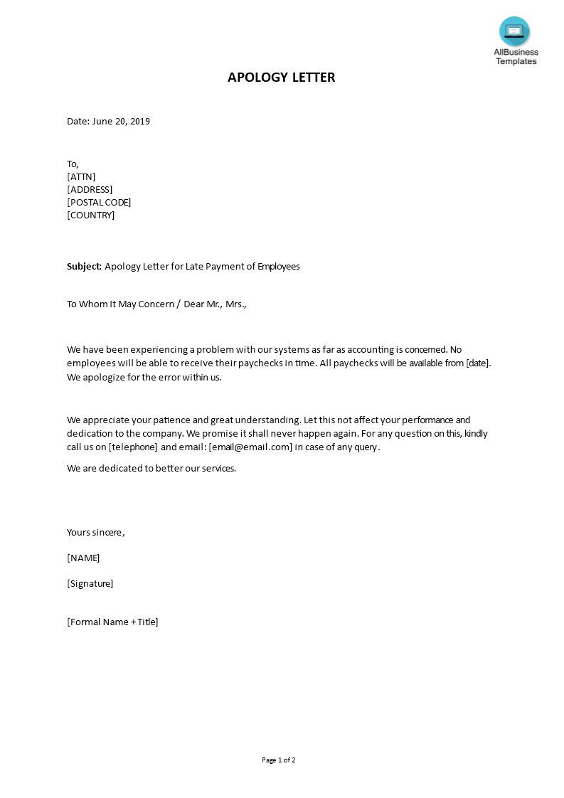 Apology letter for Late Payment of Employees main image