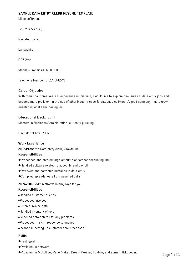 Free Data Entry Clerk Work Resume | Templates at ...