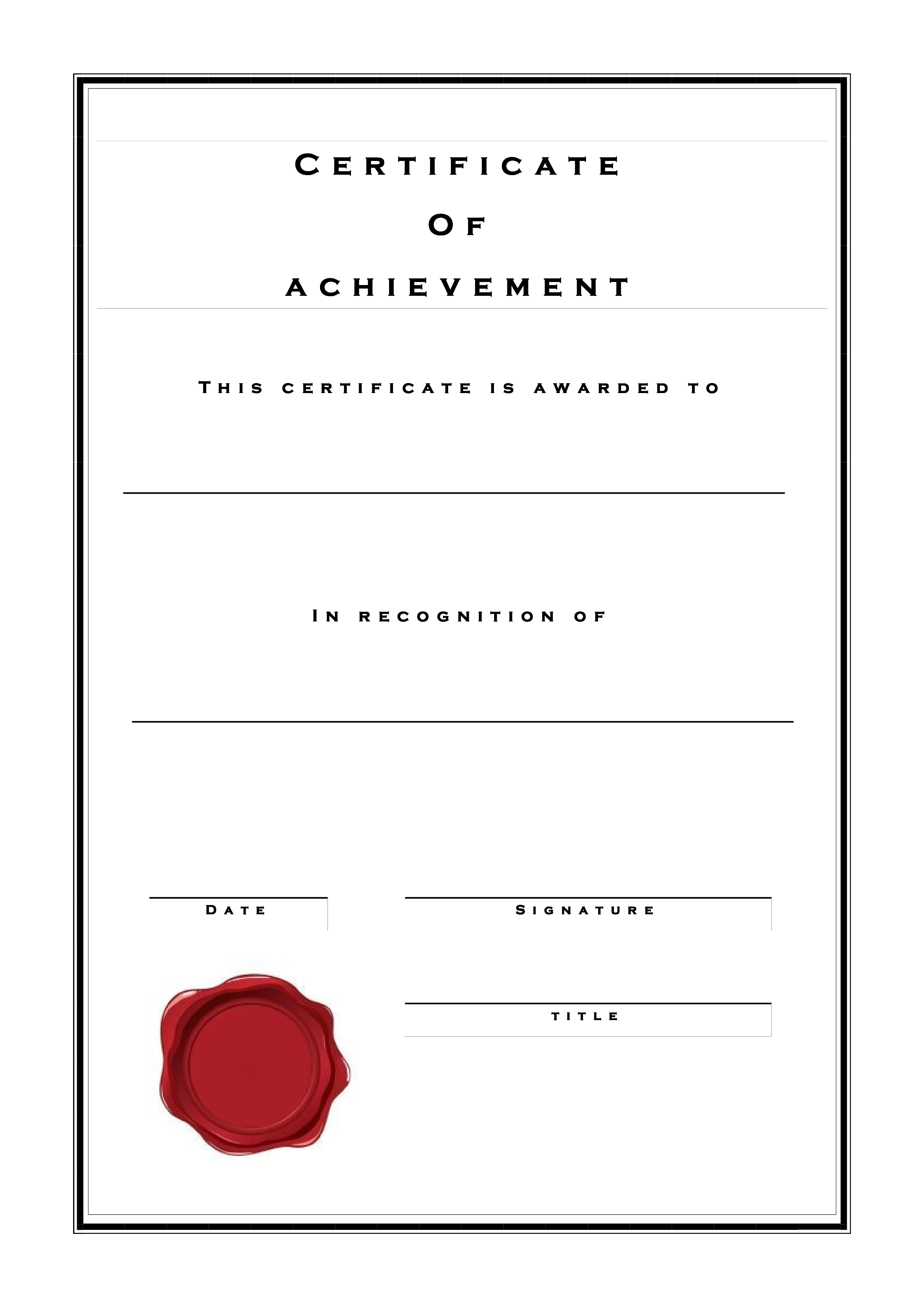 Certificate Of Achievement Formal Style main image