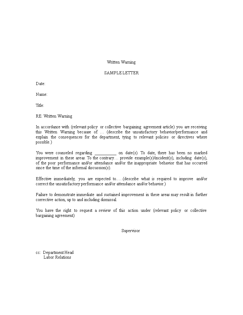 Letter Of Warning Sample Main Image