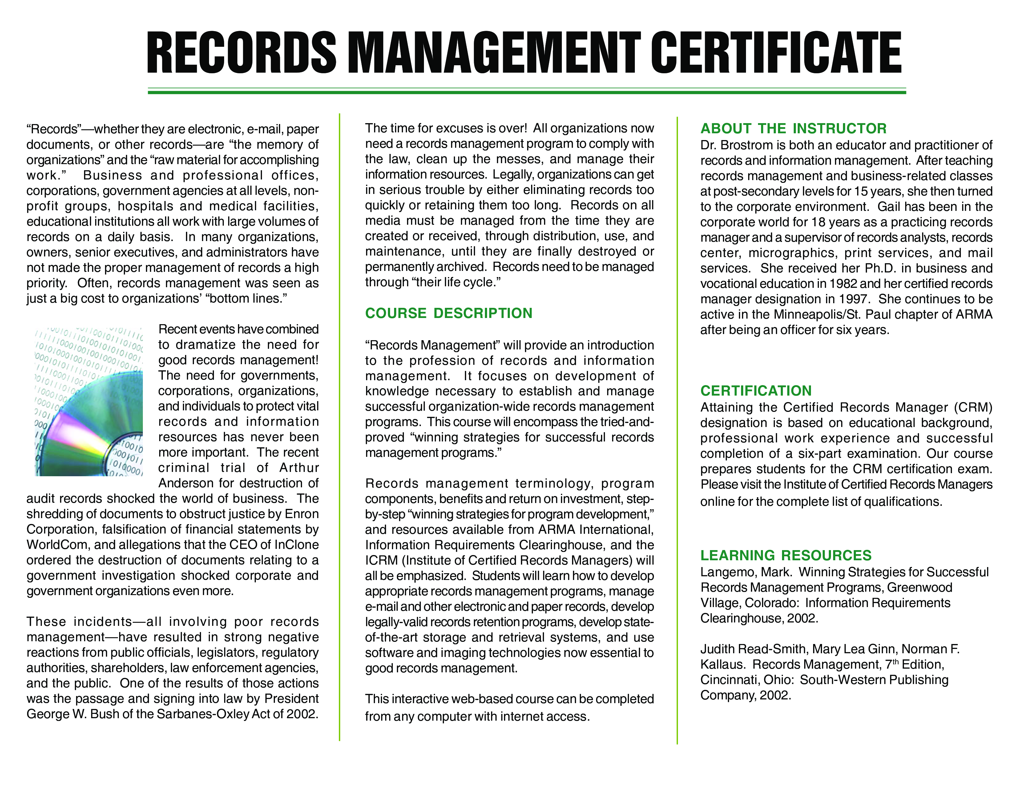 Records Management Training Certificate main image