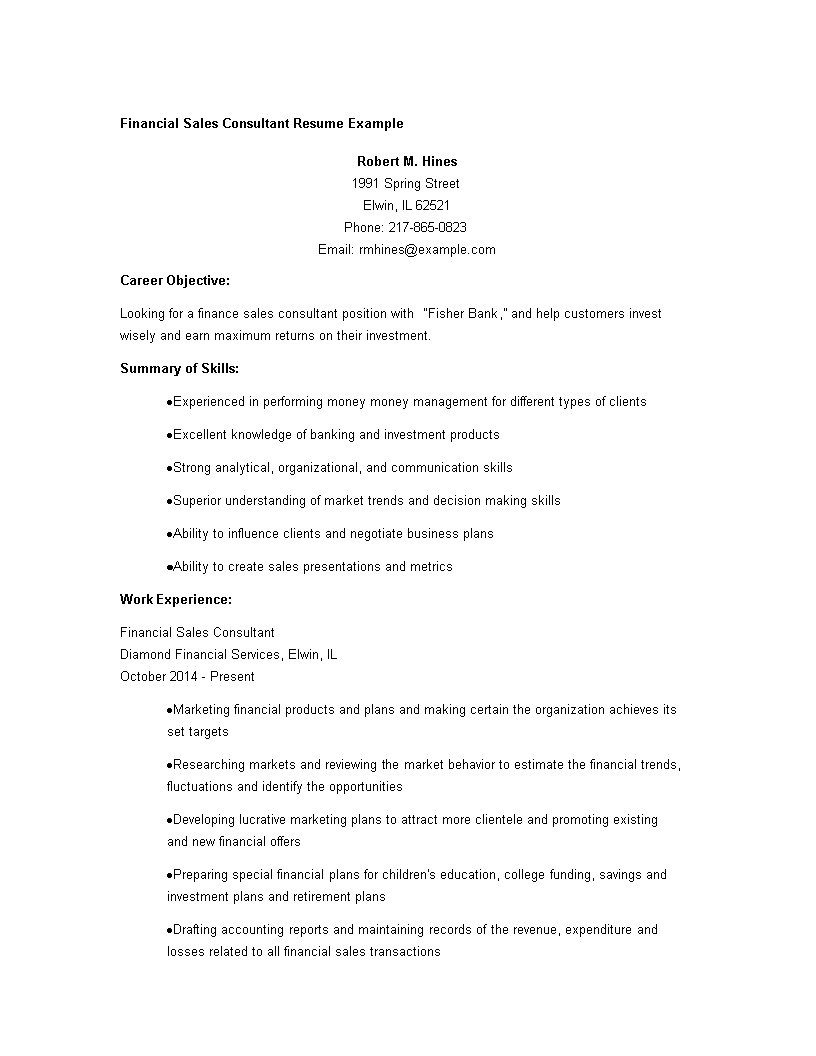 Free Financial Sales Consultant Resume Templates At