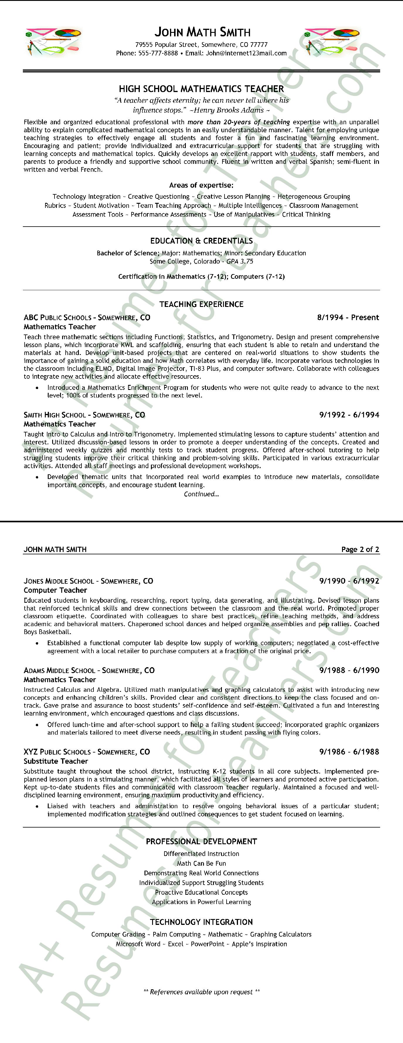 Free High School Mathematics Teacher Resume Format | Templates at ...