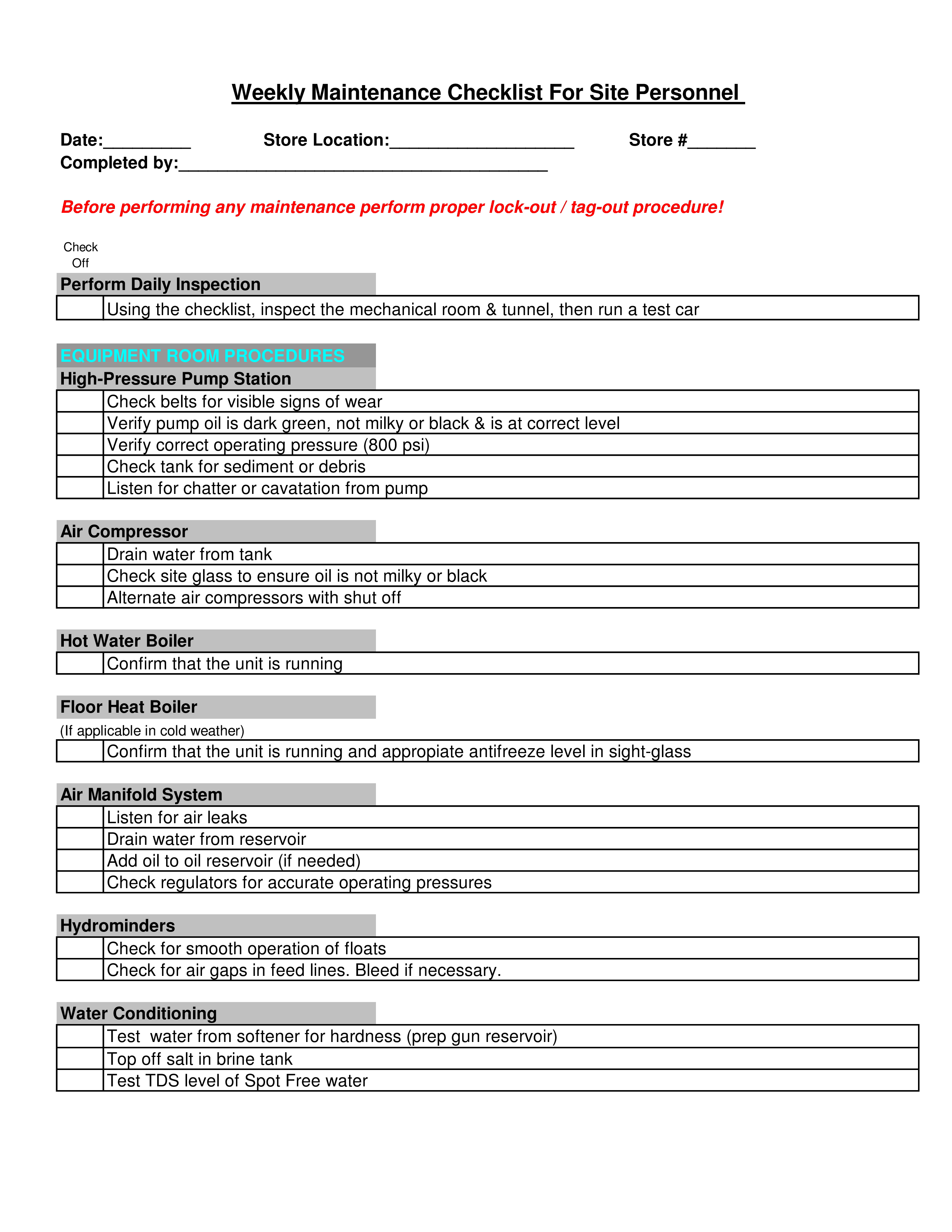 free weekly maintenance checklist templates at