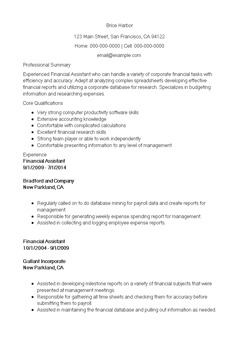 Financial Sales Assistant Resume main image