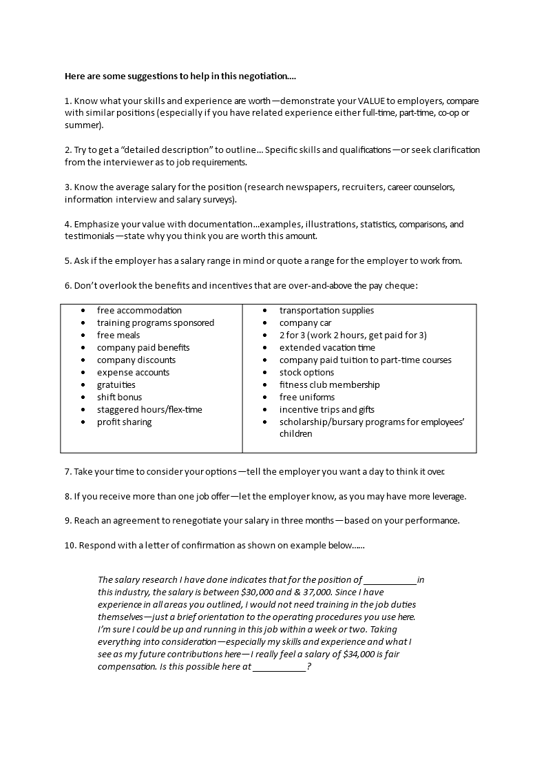 Salary Negotiation Letter To Employer.Salary Negotiation Letter Templates At
