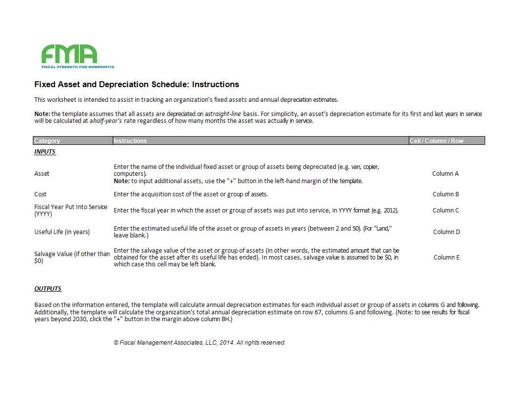 depreciation schedule template sheet in excel