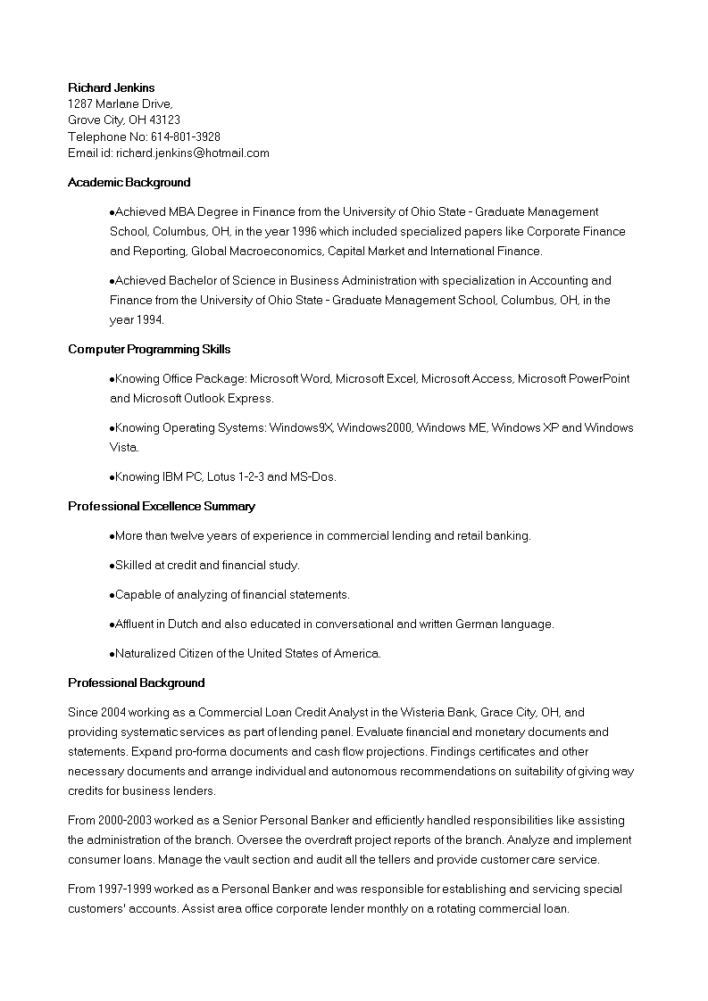 Free Corporate Banking Credit Analyst Resume template | Templates at ...