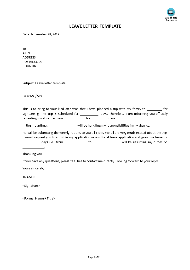 Free leave letter template templates at allbusinesstemplates leave letter template main image thecheapjerseys Image collections