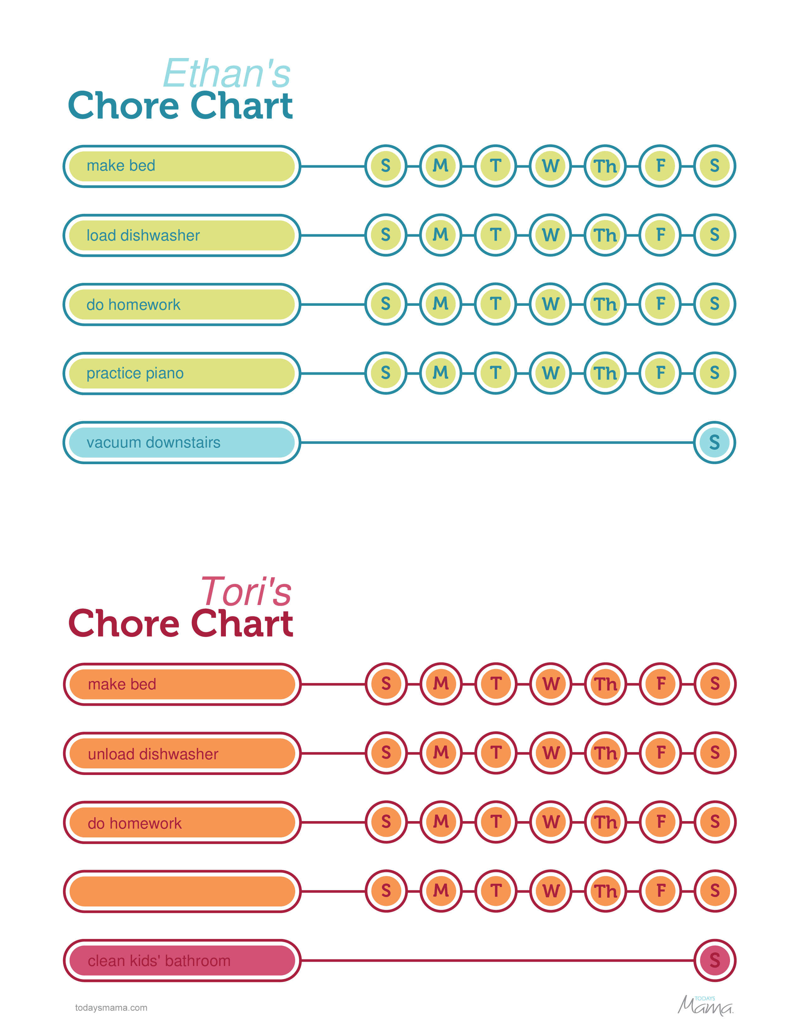 Free Printable Chore Chart For Kids Templates At