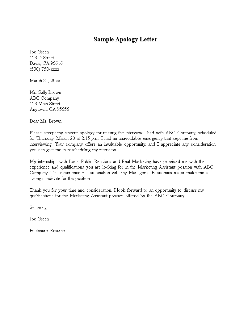 Free Company Formal Apology Letter | Templates at ...