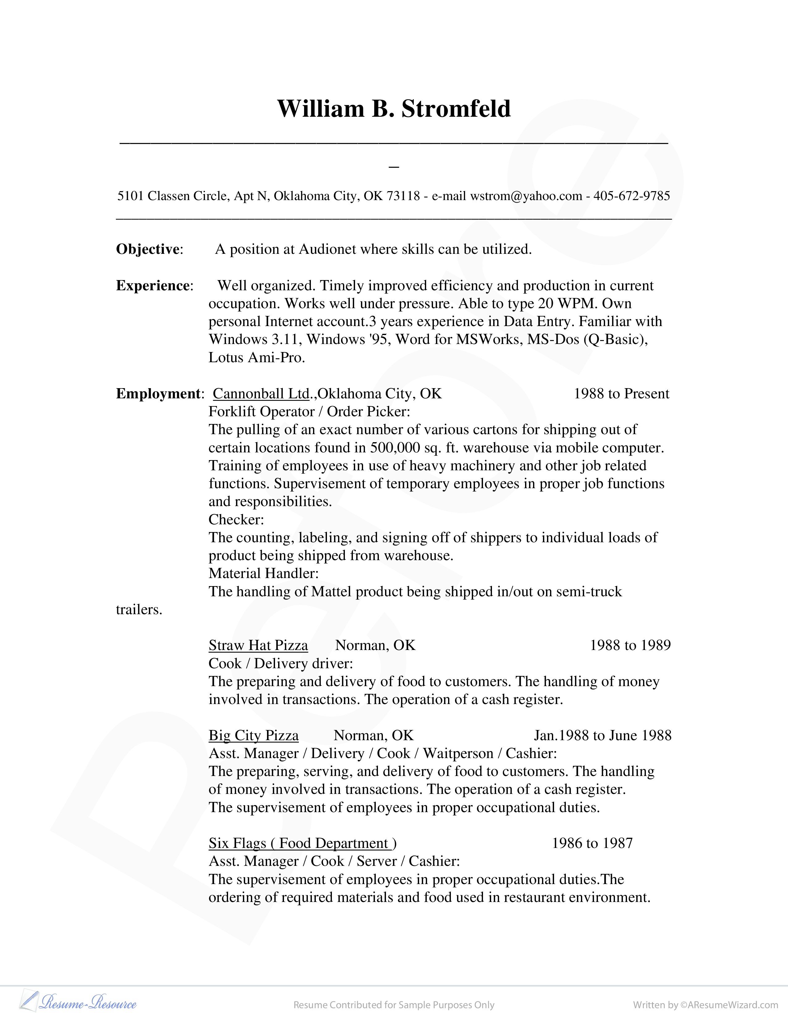 Database Administrator Resume Sample Main Image