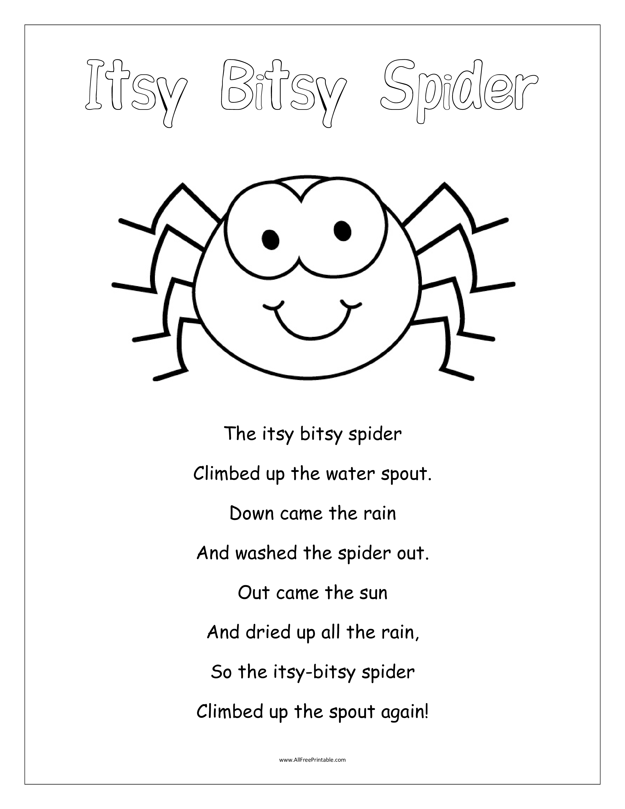 Free Itsy Bitsy Spider Kids Template Templates At