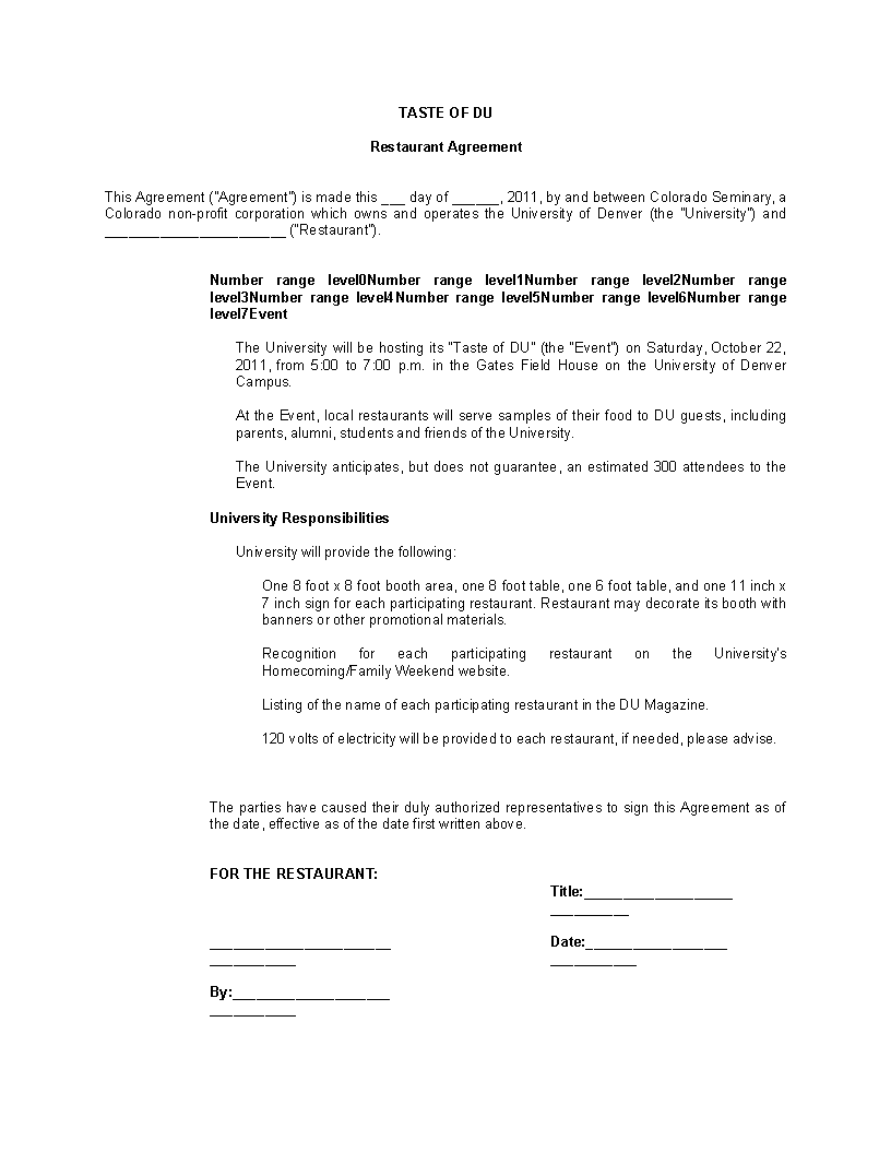 Free Restaurant Consulting Agreement Form Templates At