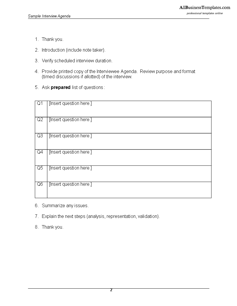 Interview Agenda Template. 10 minute interview presentation template ...