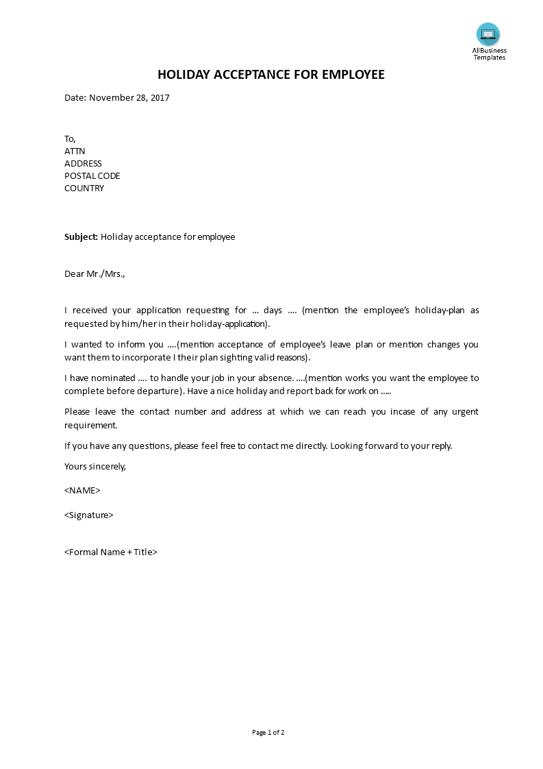 Free Holiday Letter For Employee | Templates at allbusinesstemplates.com