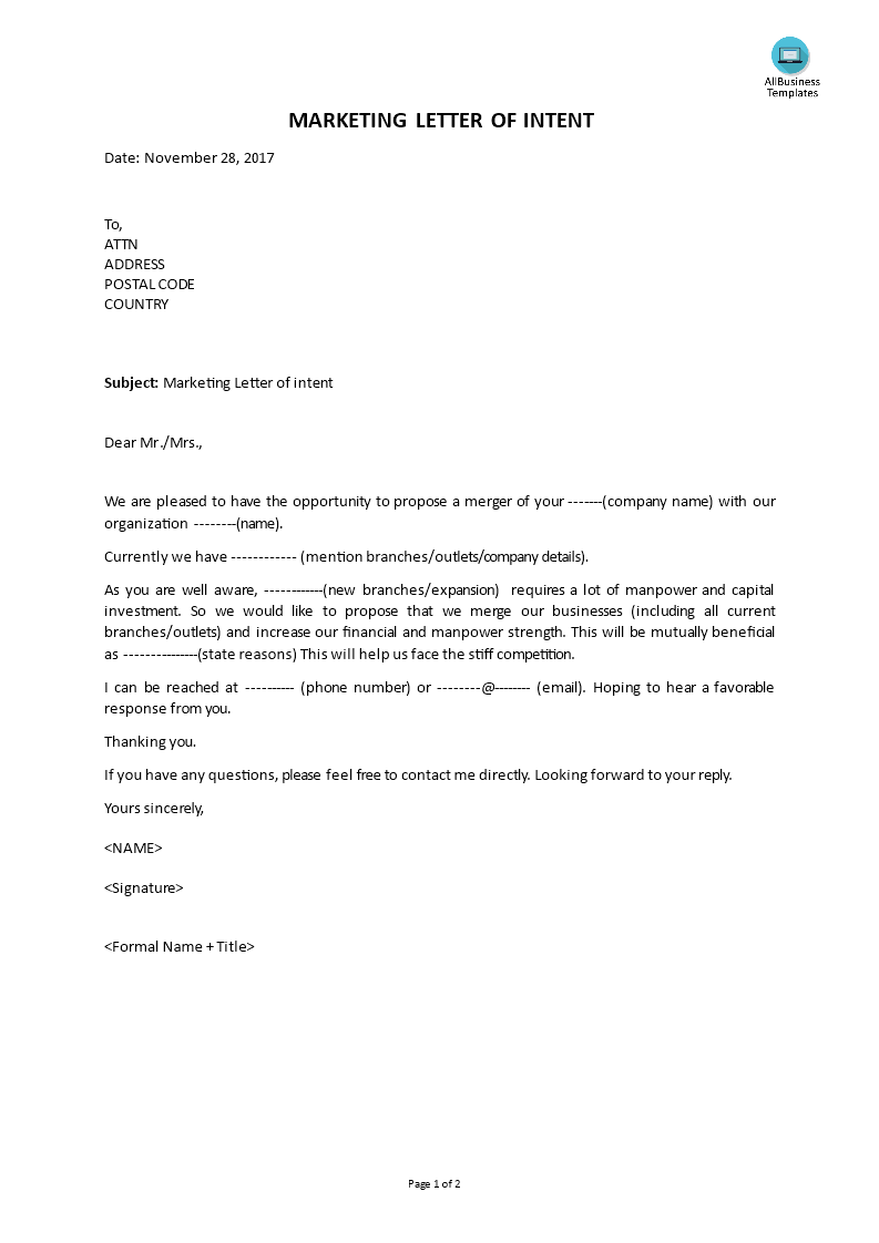 Marketing Letter Of Intent Templates At
