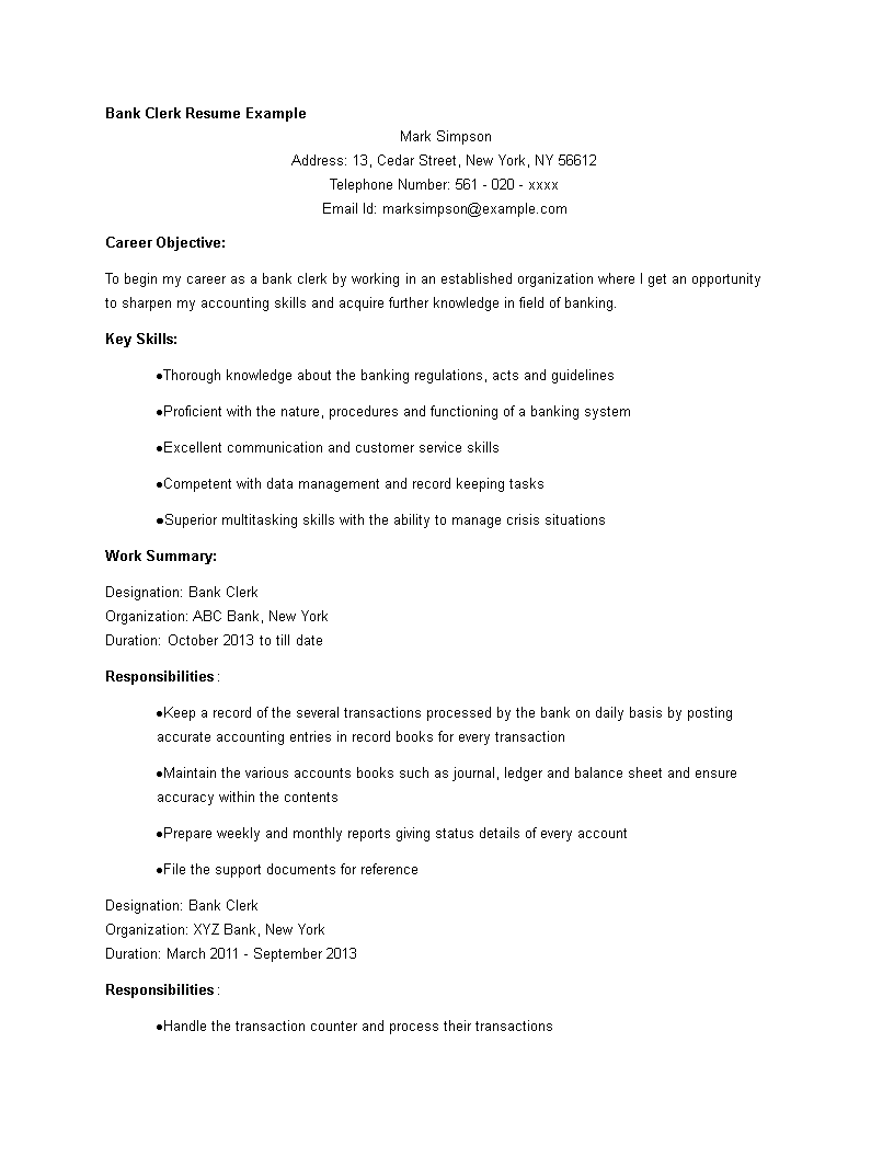 Banking Clerk Resume template main image