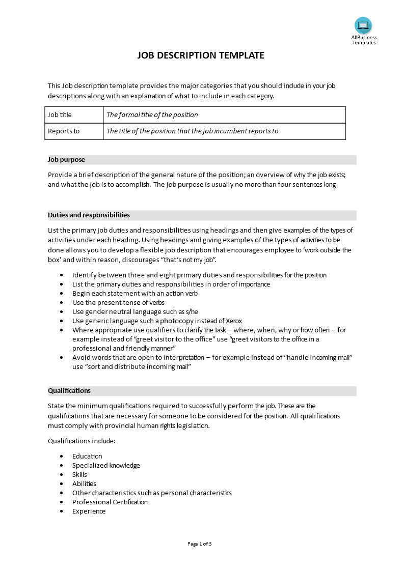 free generic job description templates at