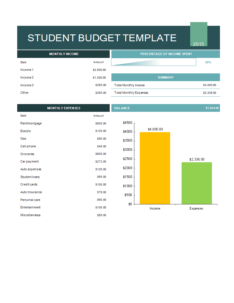 Student Budget Excel template main image
