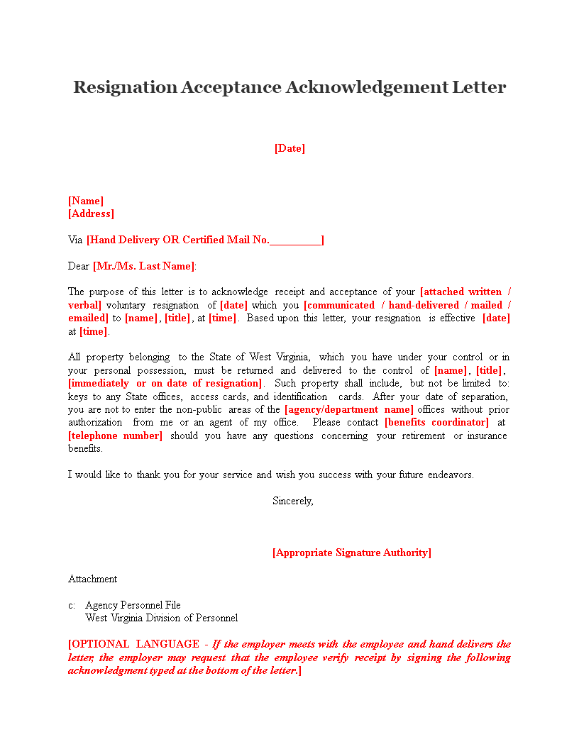 Free Resignation Acceptance Acknowledgement Letter  Templates At