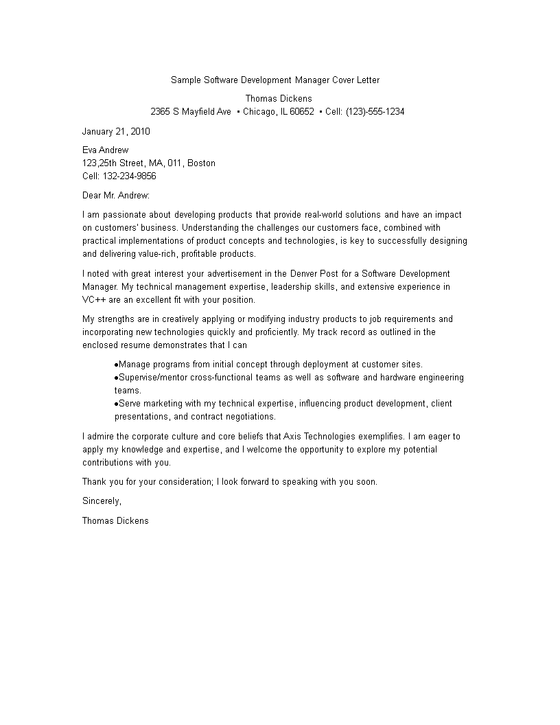 Free Development Manager Resume Cover Letter | Templates at ...
