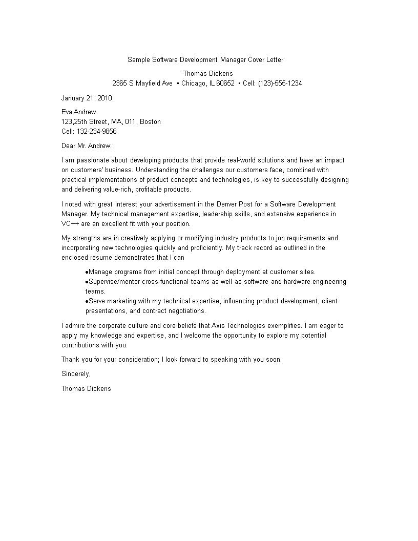 Development Manager Resume Cover Letter Templates At Allbusinesstemplates Com