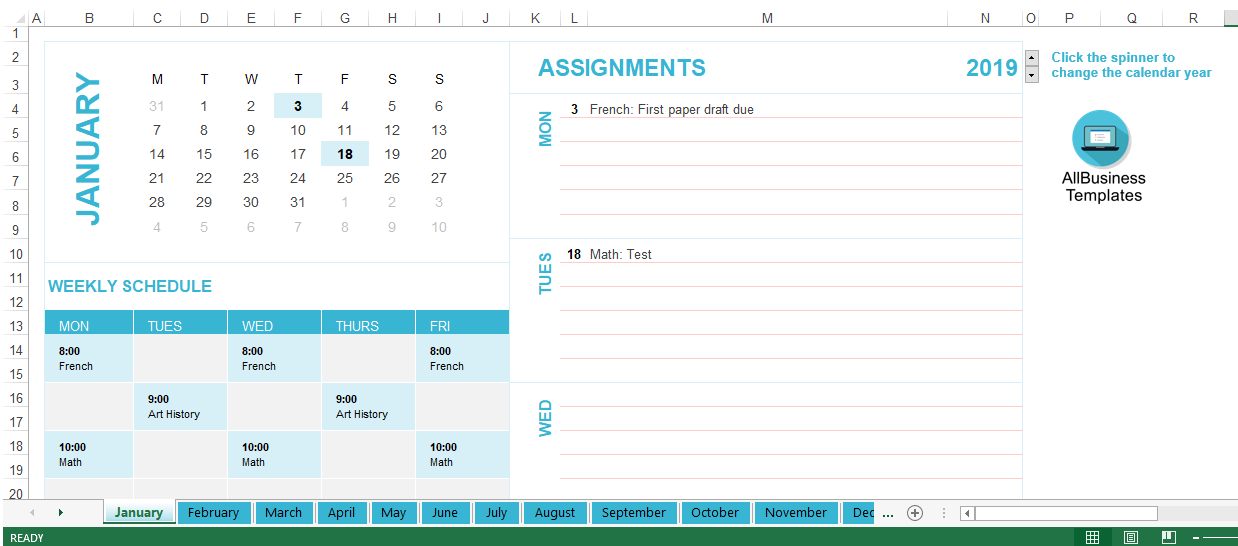 free personal assignments calendar excel templates at